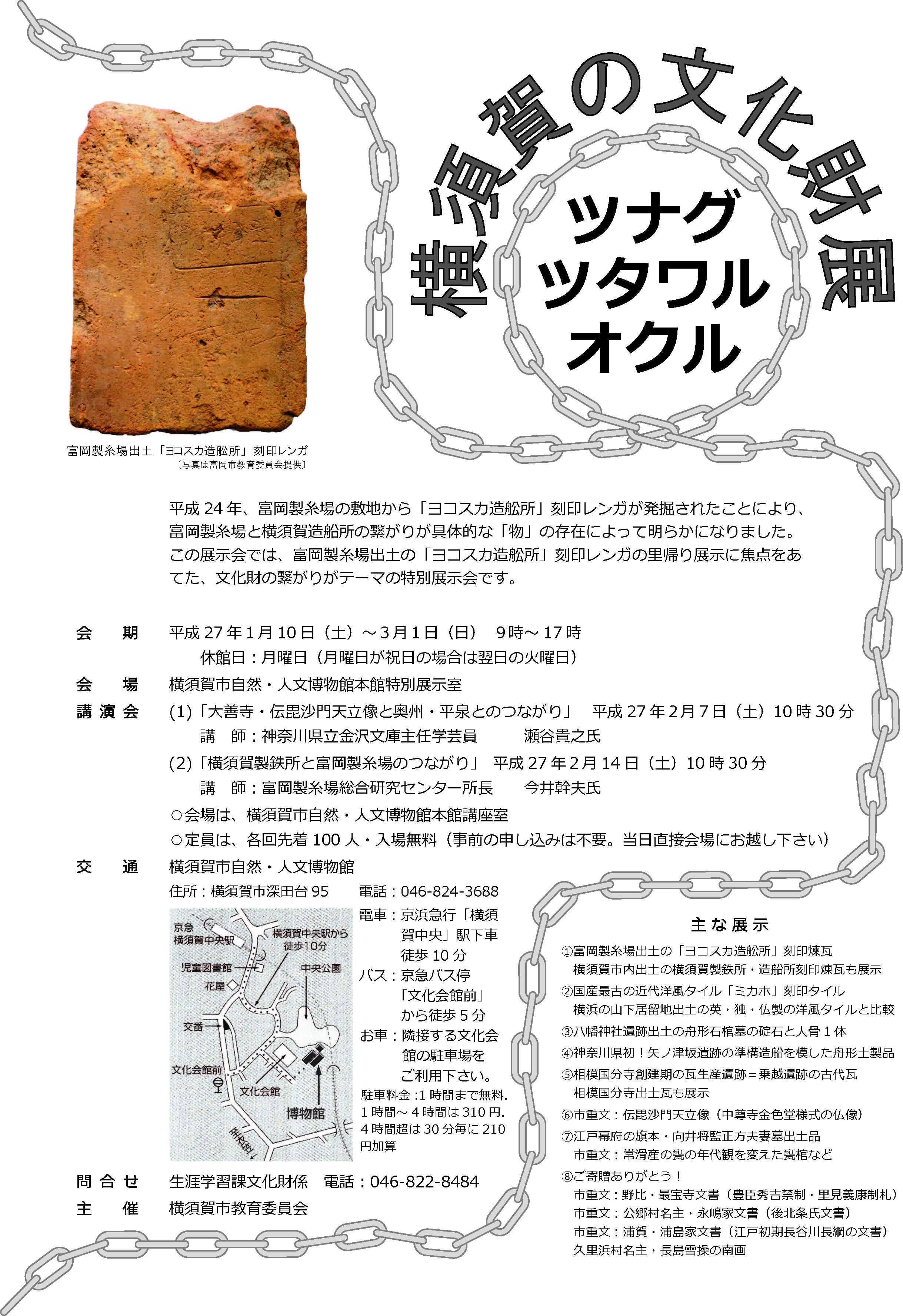 横須賀の文化財展 「ツナグ ツタワル オクル」